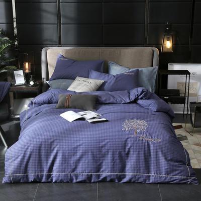 2019新款轻奢刺绣四件套 1.5m(5英尺)床 幸福之树-宝蓝