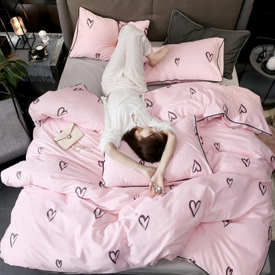 2019新款轻奢印花系列四件套 1.5m(5英尺)床 爱心