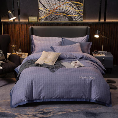 2019新款肌理磨毛绣花压边款四件套 1.5m(5英尺)床单款 雅顿-紫