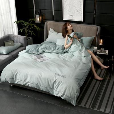 2019新款简约刺绣全棉四件套 1.5m(5英尺)床单款 苍翠