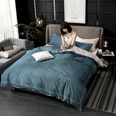 2019新款简约刺绣全棉四件套 1.5m(5英尺)床单款 墨兰