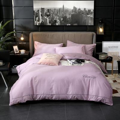 2019新款简约刺绣全棉四件套 1.8m(6英尺)床单款 怡情-紫