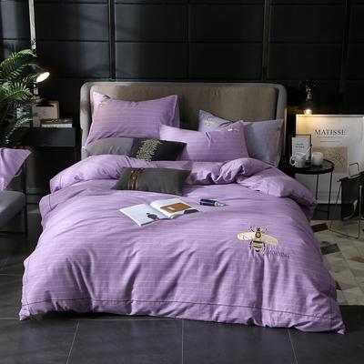 2019新款全棉轻奢刺绣四件套 1.5m(5英尺)床单款 蜜语-紫