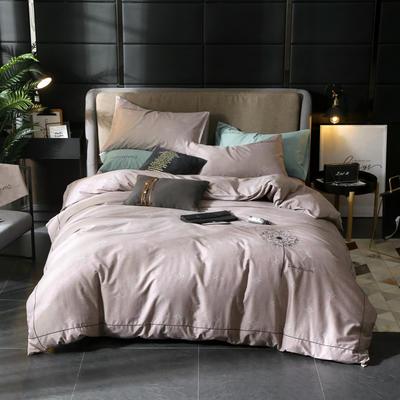 2019新款全棉轻奢刺绣四件套 1.5m(5英尺)床单款 飘絮-褐