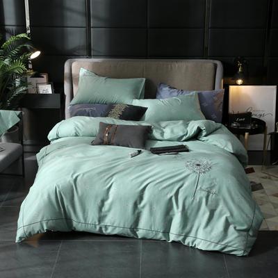 2019新款全棉轻奢刺绣四件套 1.5m(5英尺)床单款 飘絮-绿