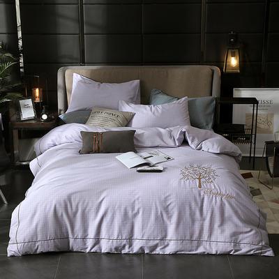 2019新款全棉轻奢刺绣四件套 1.5m(5英尺)床单款 幸福之树-白