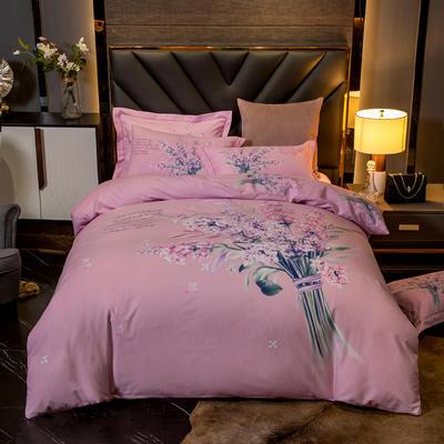 2019新款全棉磨毛四件套 1.5m(5英尺)床单款 爱丽丝-粉