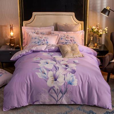 2019新款全棉磨毛四件套 1.5m(5英尺)床单款 静晓-紫
