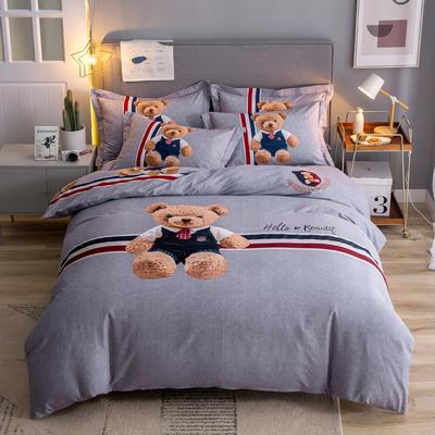 2019新款全棉磨毛四件套 1.5m(5英尺)床单款 可爱熊