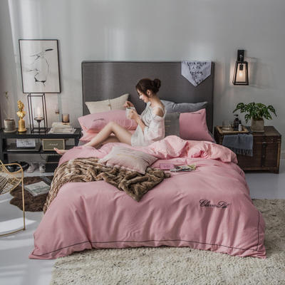 2019新款原创轻奢保暖棉绒水晶绒四件套 1.5m(5英尺)床单款 艾朵-粉