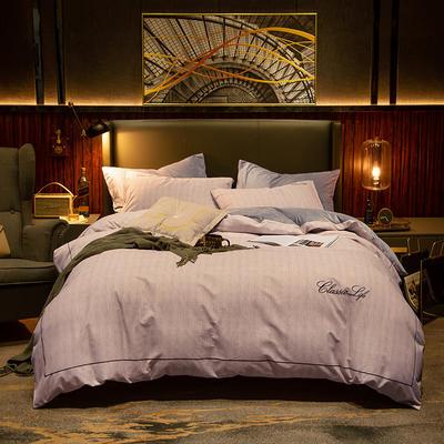 2019新款原创轻奢保暖棉绒水晶绒四件套 1.5m(5英尺)床单款 安琪拉-粉灰