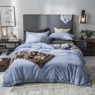 2019新款原创轻奢保暖棉绒水晶绒四件套 1.5m(5英尺)床单款 奥格斯-湛蓝