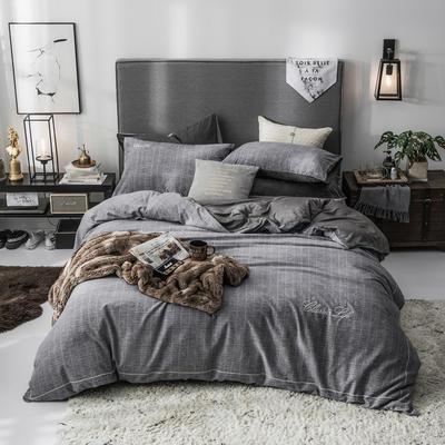2019新款原创轻奢保暖棉绒水晶绒四件套 1.5m(5英尺)床单款 巴特-铁灰
