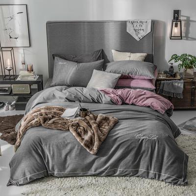 2019新款原创轻奢保暖棉绒水晶绒四件套 1.5m(5英尺)床单款 戈思-高冷灰