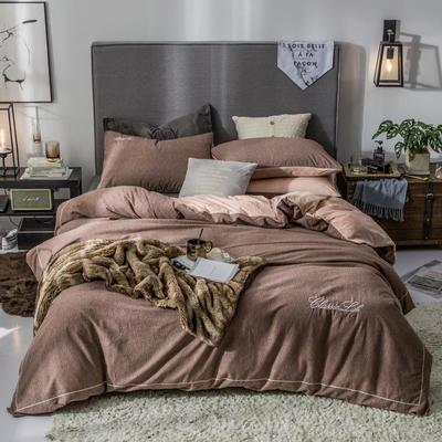 2019新款原创轻奢保暖棉绒水晶绒四件套 1.5m(5英尺)床单款 莱茵-咖