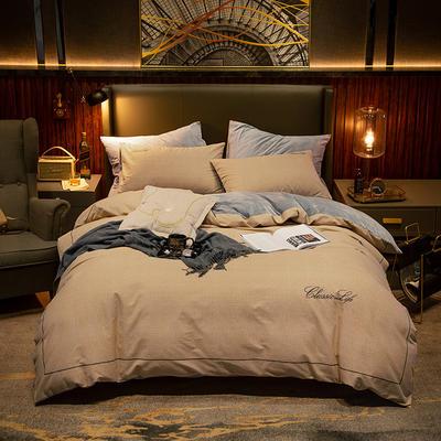 2019新款原创轻奢保暖棉绒水晶绒四件套 1.5m(5英尺)床单款 墨年-褐