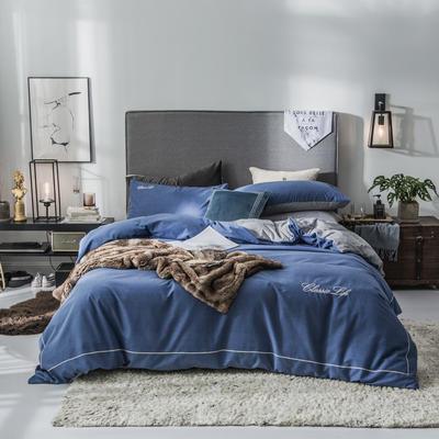 2019新款原创轻奢保暖棉绒水晶绒四件套 1.5m(5英尺)床单款 维纳-宝蓝