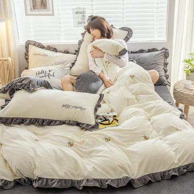 2019新款ins淑女边水晶绒四件套 1.5m(5英尺)床 蜜恋-奶白