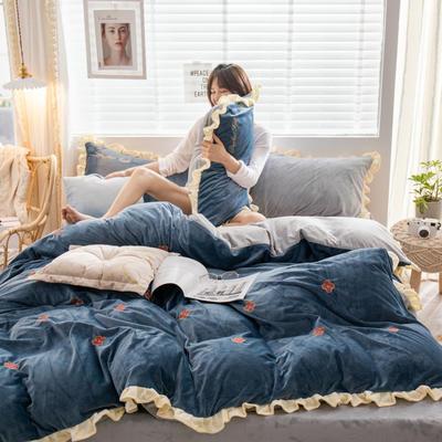 2019新款ins淑女边水晶绒四件套 1.5m(5英尺)床 暖阳-深蓝