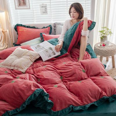 2019新款ins淑女边水晶绒四件套 1.5m(5英尺)床 暖阳-西瓜红