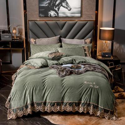蕾丝款保暖绒水晶绒四件套 1.8m床四件套(普通床单款) 牛油果绿-蕾丝