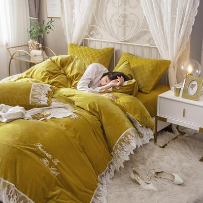 蕾丝款保暖绒水晶绒四件套 1.8m床四件套(普通床单款) 雀跃黄-蕾丝