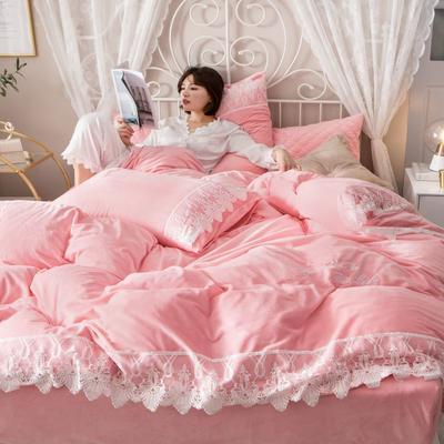 蕾丝款保暖绒水晶绒四件套 1.8m床四件套(普通床单款) 淑女粉-蕾丝