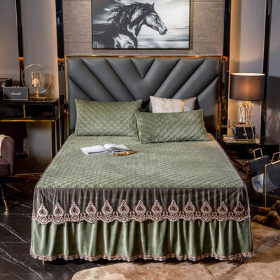 蕾丝夹棉水晶绒床裙 单床裙:180cmx200cm+45cm 牛油果绿