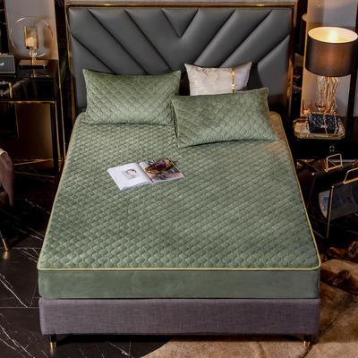 水晶绒夹棉床笠 单床笠:180x200cm+25cm 牛油果绿