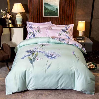 2020新款13372平网花卉卡通系列四件套 1.5m床单款四件套 魅香-绿