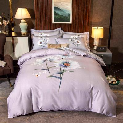 2020新款13372平网花卉卡通系列四件套 1.5m床单款四件套 素然纷菲-紫