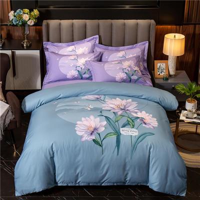 2020新款13372平网花卉卡通系列四件套 1.5m床单款四件套 凉笙-蓝