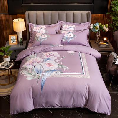 2020新款13372平网花卉卡通系列四件套 1.5m床单款四件套 云间-紫