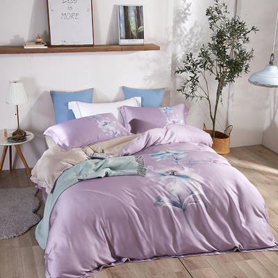 2020新款60s天絲四件套 1.5m床單款四件套 靜香-紫