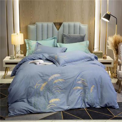 2020新款轻奢大版全棉印加绣四件套 1.5m床单款 轻语-蓝