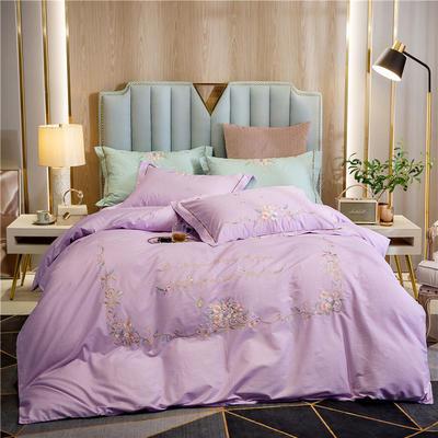 2020新款轻奢大版全棉印加绣四件套 1.5m床单款 伊丽莎-紫