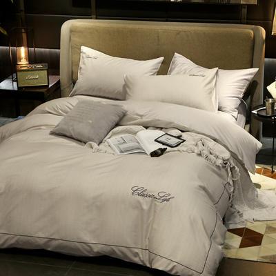 2020新款简约刺绣全棉四件套 1.2m床单款三件套 淡雅-米驼