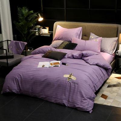 2020新款轻奢刺绣全棉四件套 1.5m床单款四件套 蜜语-紫