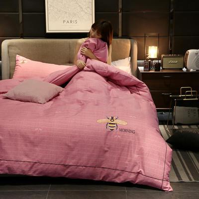 2020新款轻奢刺绣全棉四件套 1.5m床单款四件套 蜜语-粉