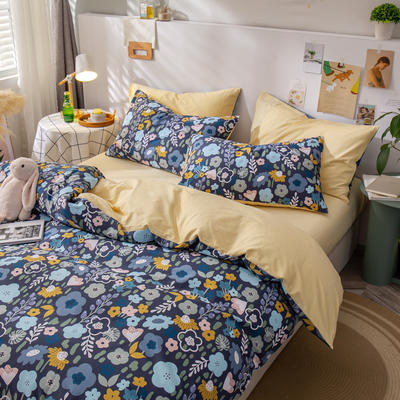 全棉-ins清新治愈系列四件套 床单款四件套1.5m(5英尺)床 花儿与少年