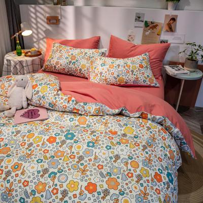 全棉-ins清新治愈系列四件套 床单款四件套1.5m(5英尺)床 花海