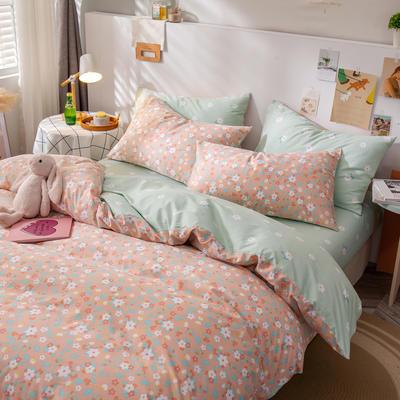 全棉-ins清新治愈系列四件套 床单款四件套1.5m(5英尺)床 花香-粉