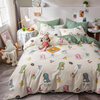 全棉-ins清新治愈系列四件套 床单款四件套1.5m(5英尺)床 可爱恐宝