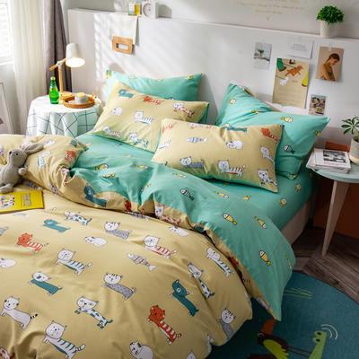 2020新款-ins清新治愈系列四件套 床单款三件套1.2m(4英尺)床 卤猫