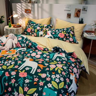 全棉-ins清新治愈系列四件套 床单款四件套1.5m(5英尺)床 猫的约会