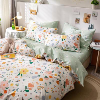 全棉-ins清新治愈系列四件套 床单款四件套1.5m(5英尺)床 千禧