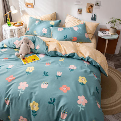全棉-ins清新治愈系列四件套 床单款四件套1.5m(5英尺)床 小朵朵