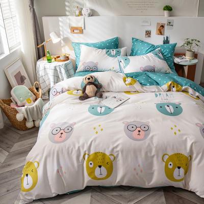 全棉-ins清新治愈系列四件套 床单款四件套1.5m(5英尺)床 熊猫头