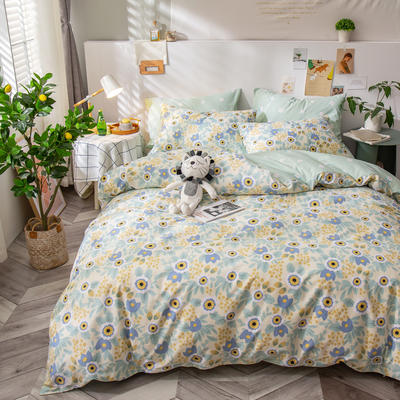 全棉-ins清新治愈系列四件套 床单款四件套1.5m(5英尺)床 野子