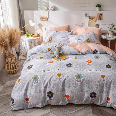 全棉-ins清新治愈系列四件套 床单款四件套1.5m(5英尺)床 一半的一半